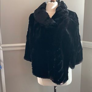 Black Real Fur Capelet